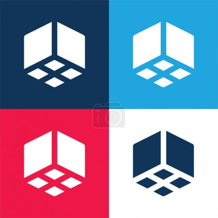 3d Cube blue and red four color minimal icon set