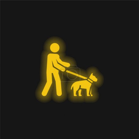 Blind yellow glowing neon icon
