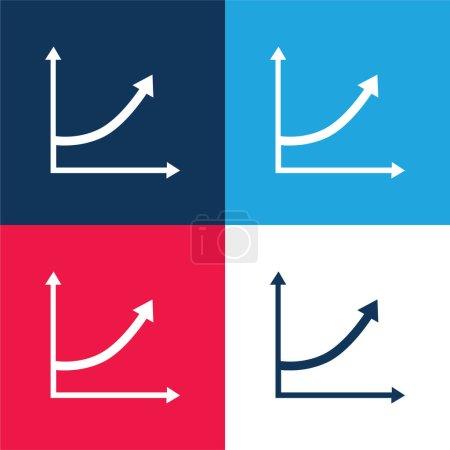 Illustration pour Ligne de flèche ascendante Graphic bleu et rouge quatre couleurs minimum jeu d'icônes - image libre de droit