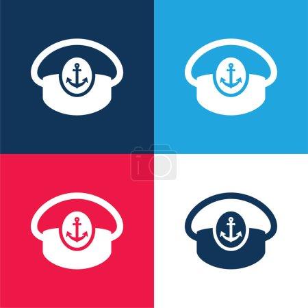 Illustration pour Bateau Capitaine Chapeau bleu et rouge quatre couleurs minimum icône ensemble - image libre de droit
