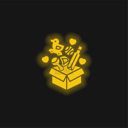 Box yellow glowing neon icon