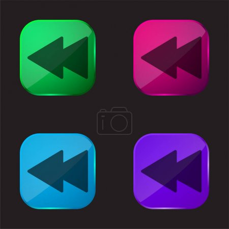 Illustration for Backwards four color glass button icon - Royalty Free Image
