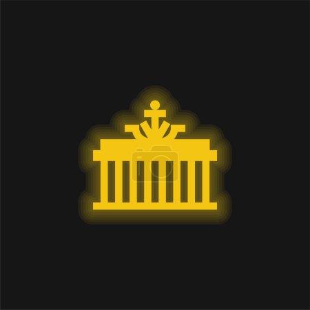 Photo pour Porte de Brandebourg jaune brillant icône néon - image libre de droit