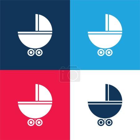 Photo pour Porte-bébé avec roues bleu et rouge ensemble d'icônes minimales quatre couleurs - image libre de droit
