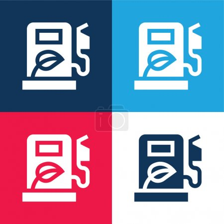 Biofuel blue and red four color minimal icon set