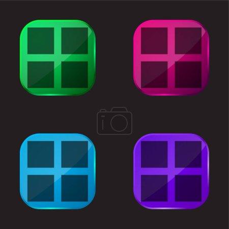 Illustration pour 4 carrés noirs icône de bouton en verre de quatre couleurs - image libre de droit