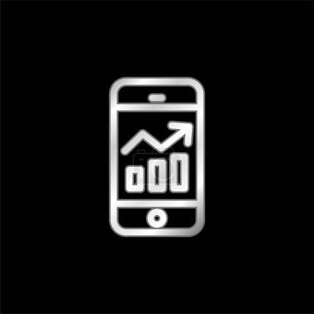 Illustration pour Analytics icône métallique argentée - image libre de droit