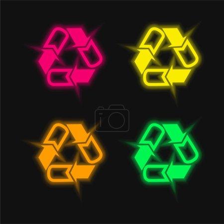 Flechas Triángulo de cuatro colores brillante icono de vectores de neón