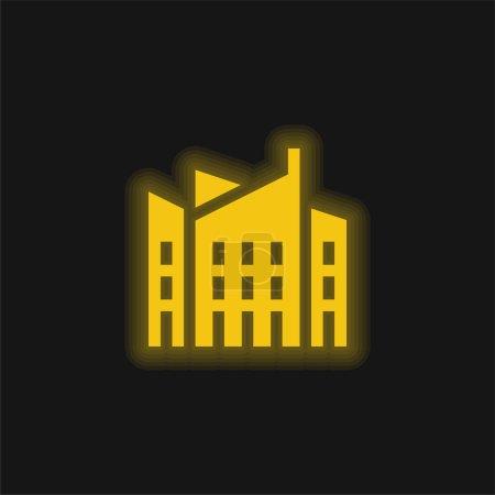 Photo pour Architecture jaune brillant icône néon - image libre de droit