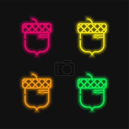 Illustration pour Acorn quatre couleur brillant icône vectorielle néon - image libre de droit