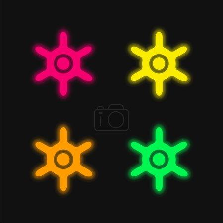 Illustration pour Roue de bateau quatre couleurs rougeoyantes icône vectorielle néon - image libre de droit