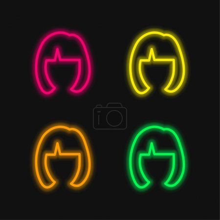 Illustration for Blond Female Short Hair Shape four color glowing neon vector icon - Royalty Free Image