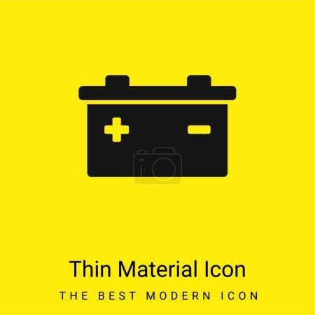 Photo pour Batterie avec des symboles positifs et négatifs de Polonais icône matérielle jaune vif minimale - image libre de droit