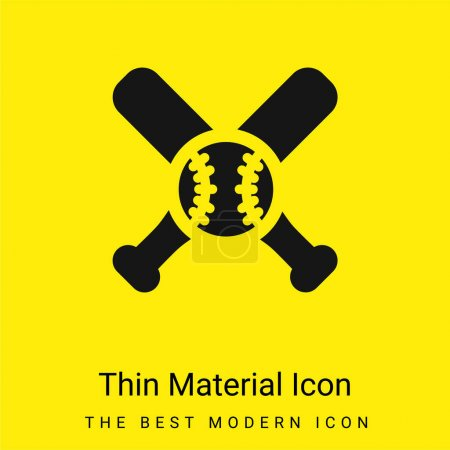 Illustration for Bat minimal bright yellow material icon - Royalty Free Image