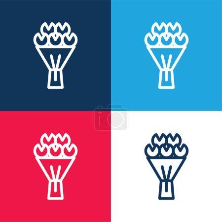 Illustration pour Bouquet de fleurs bleu et rouge quatre couleurs minimum icône ensemble - image libre de droit