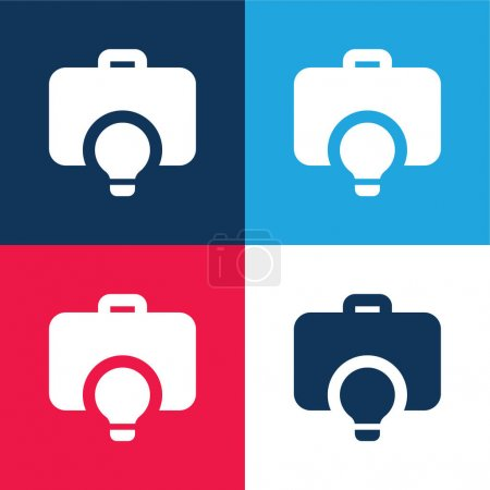 Photo pour Porte-documents bleu et rouge quatre couleurs minimum jeu d'icônes - image libre de droit