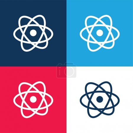 Atom blue and red four color minimal icon set