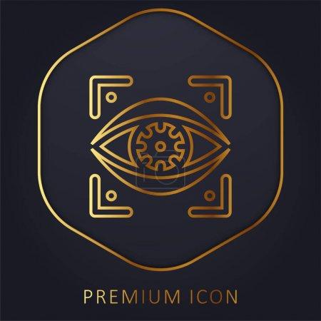 Illustration for Bionic Eye golden line premium logo or icon - Royalty Free Image