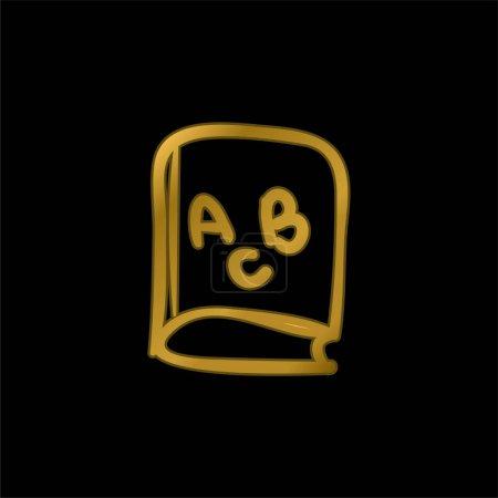 Illustration pour ABC Livre éducatif Jouet dessiné à la main icône métallique plaqué or ou vecteur de logo - image libre de droit