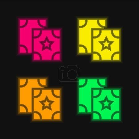 Illustration pour Astrologie icône vectorielle néon éclatante à quatre couleurs - image libre de droit