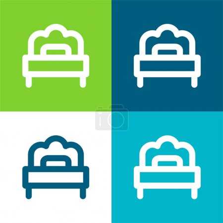 Bed Flat four color minimal icon set