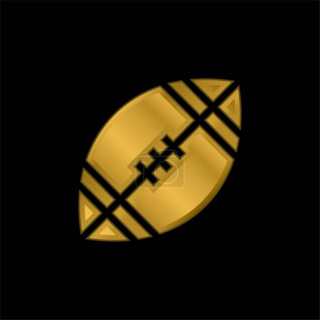 American Football gold plated metalic icon or logo vector