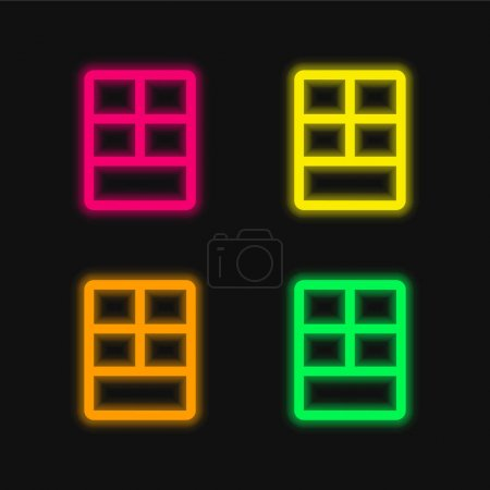 Big Layout four color glowing neon vector icon