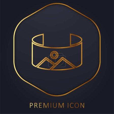 Illustration for 360 Image golden line premium logo or icon - Royalty Free Image