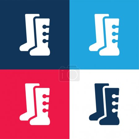Boots blue and red four color minimal icon set