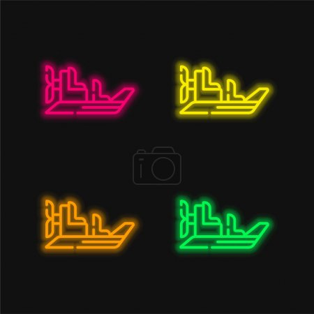 Illustration for Boat four color glowing neon vector icon - Royalty Free Image