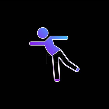 Boy Standing On One Leg blue gradient vector icon