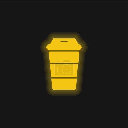 Illustration pour Black Beverage Glass Striped Tool Side View icône jaune néon brillant - image libre de droit