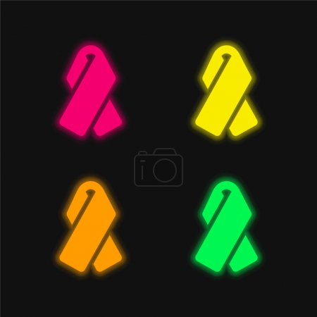 Illustration pour Icône vectorielle néon rayonnante à quatre couleurs - image libre de droit