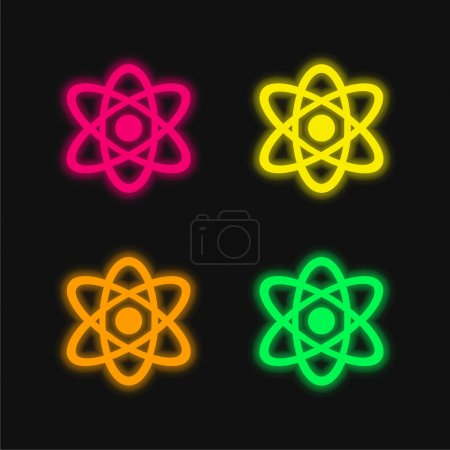 Atom four color glowing neon vector icon