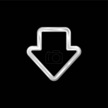 Illustration pour Flèche contour brut pointant vers le bas argent plaqué icône métallique - image libre de droit