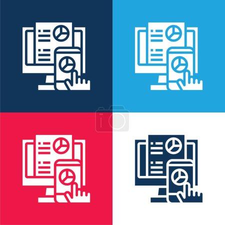 Illustration pour Analyse bleu et rouge ensemble d'icônes minimes quatre couleurs - image libre de droit