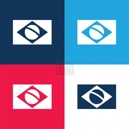 Brazil Flag blue and red four color minimal icon set