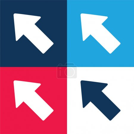 Arrow Pointing To Top Left blue and red four color minimal icon set