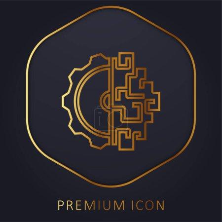 Illustration for Brainstorming golden line premium logo or icon - Royalty Free Image