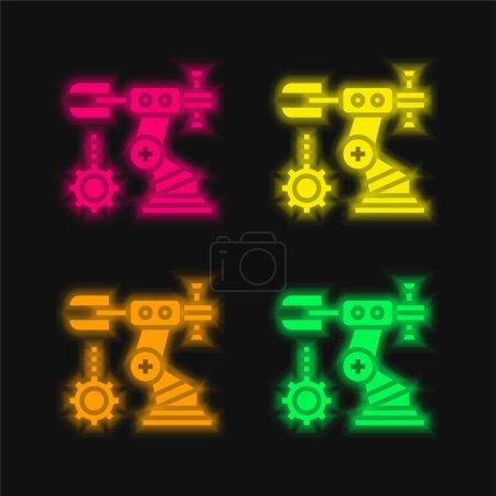 Illustration pour Ensemble quatre couleurs brillant icône vectorielle néon - image libre de droit