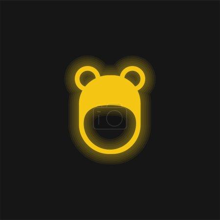Illustration pour Chapeau ours jaune brillant icône néon - image libre de droit