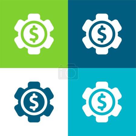 Illustration pour Paramètres de la banque Ensemble d'icônes minimal plat quatre couleurs - image libre de droit