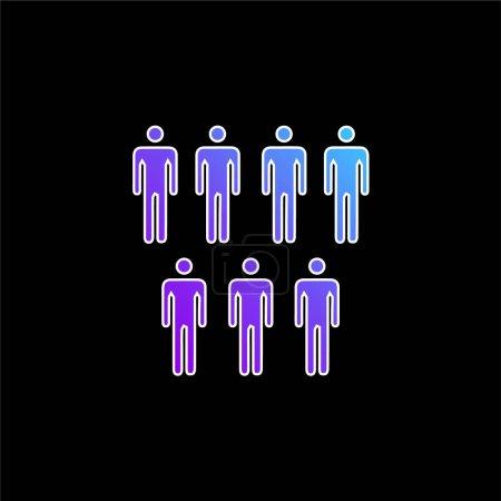 Illustration pour 7 Personnes Silhouettes masculines icône vectorielle dégradée bleue - image libre de droit