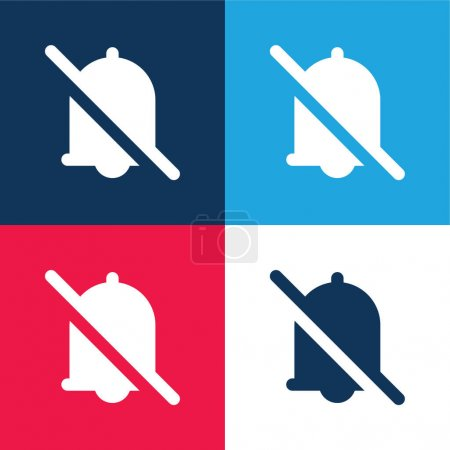 Alarm blue and red four color minimal icon set