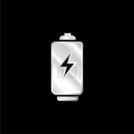 Illustration for Battery Tool With Bolt Sign silver plated metallic icon - Royalty Free Image