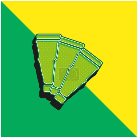 Art Piece Like A Fan Green and yellow modern 3d vector icon logo