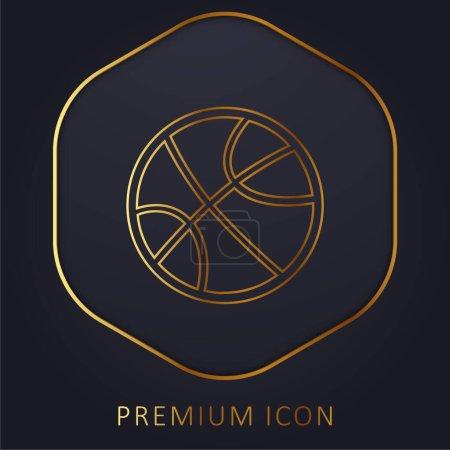 Bola para los deportes de línea dorada logotipo premium o icono