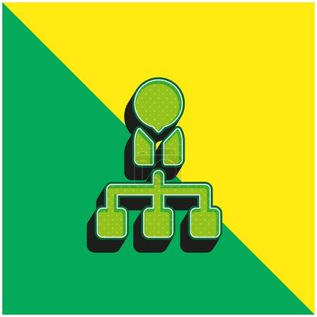 Illustration pour Patron Logo vectoriel 3D moderne vert et jaune - image libre de droit