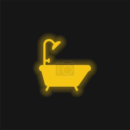 Bathtub yellow glowing neon icon