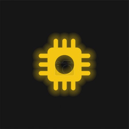 Illustration for Big Processor yellow glowing neon icon - Royalty Free Image